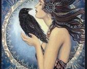 Raven Goddess 8x10 Print Pagan Mythology Celtic Witch Art Nouveau Psychedelic Bohemian Gypsy Goddess Art