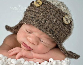 Newborn Aviator Hat, Baby Boy Hat,  Newborn Photography Prop, Crochet Baby Hat, Fits Most Newborn Babies, Color: Oatmeal