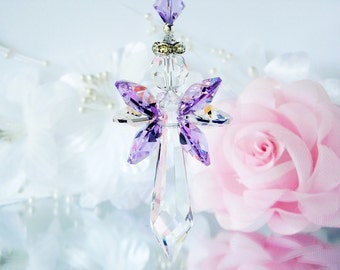 Swarovski Crystal Suncatcher Window Sun Catcher Purple Angel Suncatcher Nursery Decor