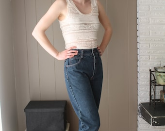 Cropped Denim High Waisted Jeans with Bow / Pink Stitching and Flowers on Pockets / Zipper at Ankle