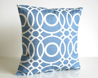 Circle Pillow Cover, Circle Cushion Cover, Circle Pillow Sham, Sofa Pillows, Home Decor Pillow, Blue Pillow Cover - Trellis Circles Blue