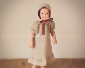 Linen dress Girls peasant dress for baby, toddler