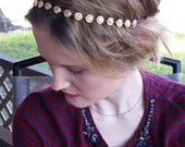 Gold Metal Flower Purple Beaded Elastic Headband, for weddings, parties, evening, cocktail, Holiday, special occasions