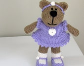 Stuffed Animal Toy - Small Toy - Hand Knit Teddy Bear Toy- Plush Doll - Knit Bear Stuff Animal - Child Toy - Knit Toy - Kids Toy - Emily