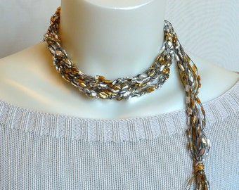 White Gold Ladder Yarn Necklace, Satin Ribbon Necklace, Crochet Choker, Fiber Necklace, Trellis Yarn Necklace, Vegan Jewelry