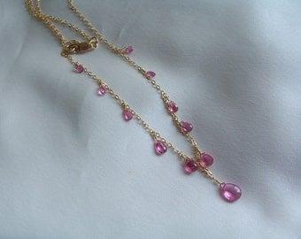 Pink rubellite tourmaline briolette necklace 14k gold filled AAA rose gemstone handmade  MLMR item 680