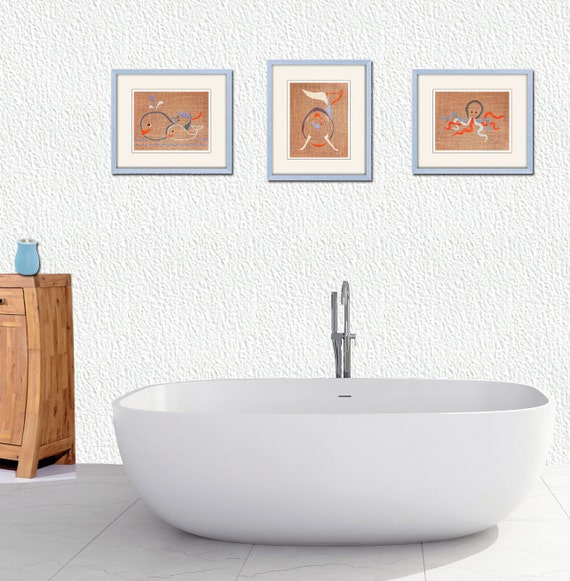 Kids bathroom art bathroom art bathroom decor whale art for Dolphin bathroom design