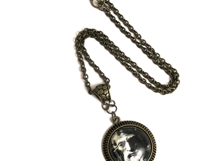 Clearance! Merman Statue Photograph with a Glass Cabochon in an Antique Brass Scalloped Bezel Pendant with a Bail on an Antique Brass Chain