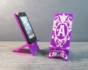 Personalized Gift Monogram Cell Phone Stand Docking Station - 5 Sizes - 9 Colors - iPhone 6, 6 Plus, iPhone 5, Samsung Galaxy, Universal