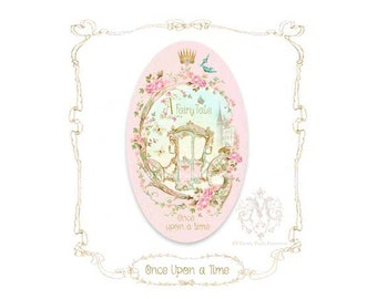 Once upon a time, pink fairy tale, princess carriage, stickers, for gift wrap, planner, journal, set of 4