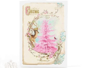 Christmas card, pink Christmas tree with deer, vintage style holiday card