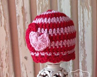Valentines Day Baby Hat, Valentines Baby Beanie, Newborn Valentine Hat, Baby Girl Hat, Crochet Heart Baby Hat, Cute Baby Hat Baby Photo Prop