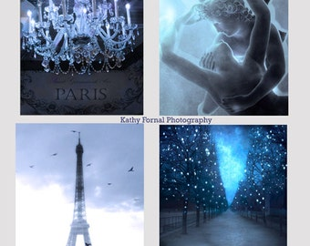 Paris Photography, Paris In Blue, Paris Wall Art Prints, Paris Eiffel Tower, Paris Chandelier, Eros and Psyche, Tuileries, Paris Note Cards