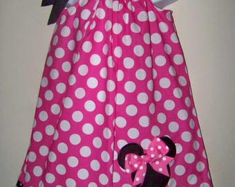 Minnie Mouse Pillowcase Dress / Pink Polka Dot / Disney / Birthday / Girl / Infant / Baby / Toddler / Birthday / Custom Boutique Clothing