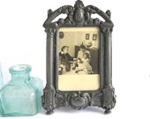 Vintage Dark Silver Picture Frame Patina Baroque Sepia Family Photo