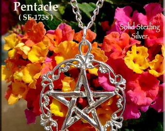 Sterling Silver Victorian Pentacle Pendant Necklace, Wiccan Filigree Pentagram Necklace Pendant, .925 Silver Pagan Jewelry - SE-1738