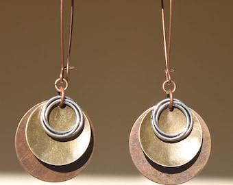 Copper Earrings Mixed Metal Earrings Boho Bohemian Earrings Copper Brass Silver Earrings Dangle Earrings Boho Jewelry Long Earrings