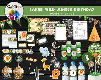 Large Wild Jungle Birthday Party Package Set - Printable - DIY - Invitation Included - 25 Items