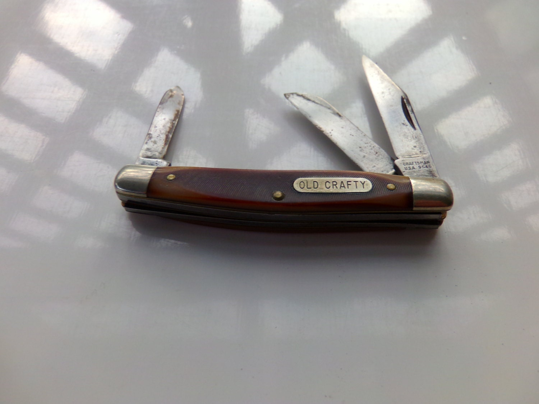 Vintage Old Crafty Craftsman Usa 9546 Three Blade Pocket