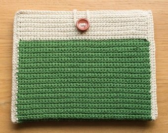 Handmade Crocheted Green Ipad / Tablet Sleeve Cover with Button Detail