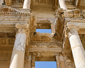 Architectural Photography Art Print, Large Wall Print, Historical Celsus Library, Ancient Ruins, Ephesus, Turkey, Wall Decor