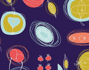 Fruit Market in Indigo fabric from the Fruit Stand Fabric Collection by Jane Farnham for Camelot Cottons.
