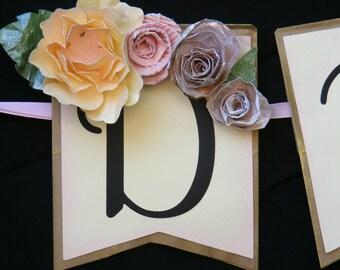 Dessert table Floral Custom Paper Bag Banner