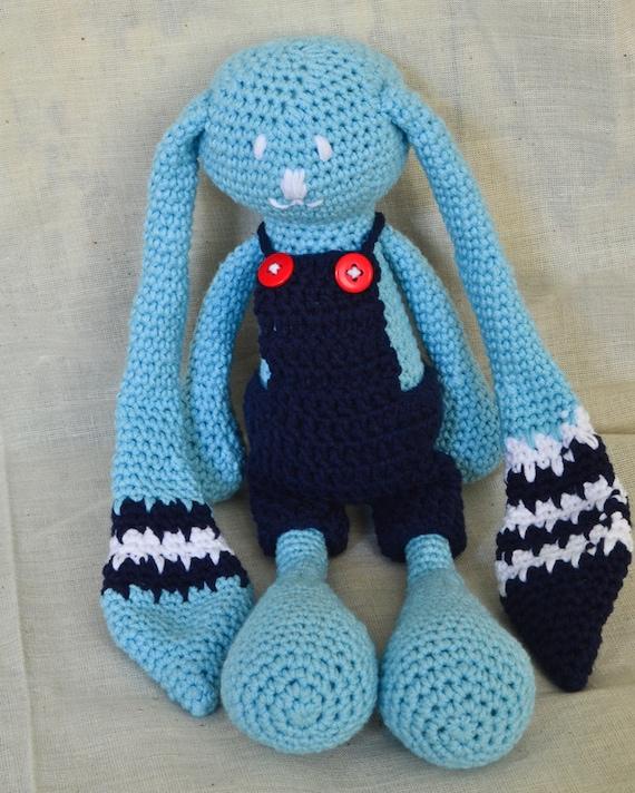 Crochet Toys For Boys : Large crochet toy rabbit boy amigurumi style hand