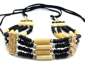 Handmade Traditional Native Tribal 4 Line Buffalo Bone Hairpipe Choker Necklace