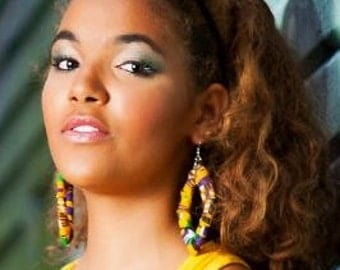 "African Fabric Earrings ""Eliora"""