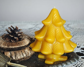 Beeswax Large Christmas Tree Candle - Xmas, Christmas Table Centre Piece