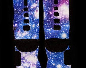 "Custom Nike Elite or Notion Socks ""Moon Man Galaxy"""