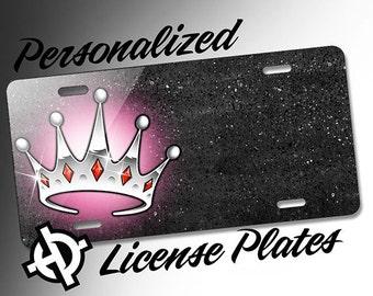 Pink Princess Crown Tiara -AT1056- Airbrush License Plates Personalized Custom Auto Tags