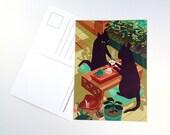 Tea Cats Postcard