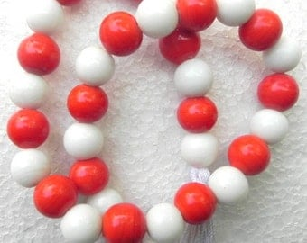 20'' Red & White Tribal Indian Trade Beads string handmade / beading craft/jewelry craft/craft supplies/jewellery making
