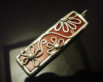 Flowers red glass pendant, stained glass, soldered, handmade jewelry, statement, ooak, gift for her
