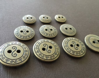 Antigued Vintage Brass Buttons Curly Cue Embellishment Craft Supply