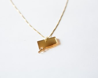 Connecticut State Necklace - Clear Gold - Connecticut Necklace - CT Necklace Connecticut Map Jewelry Personalized Heart Connecticut Mystic