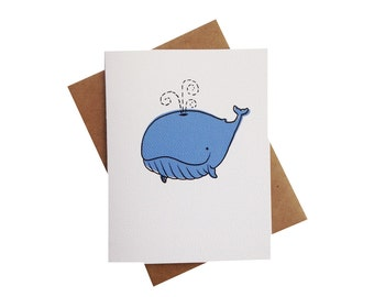 Baby Whale Card - kids thank you card - baby shower thank yous