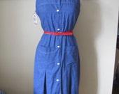 SALE VLV Plus Size Vintage 60's Summer Blue Cotton Chambray Pleated Shift Dress XL sz 16