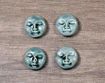 Set of Four Small Round Ceramic Face Stone Cabochons in Peacock