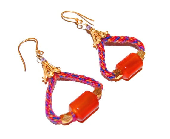Carnelian & Kumihimo Earrings
