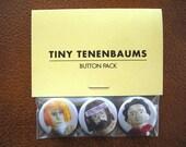 "Tiny Tenenbaums Set of 3 Royal Tenenbaums 1"" Buttons - Free shipping!"
