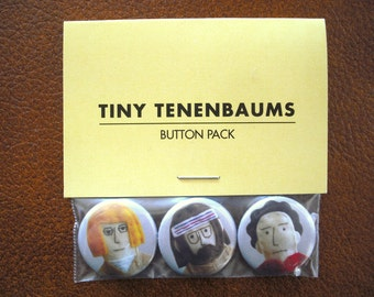 "Tiny Tenenbaums Set of 3 Royal Tenenbaums 1"" Buttons"