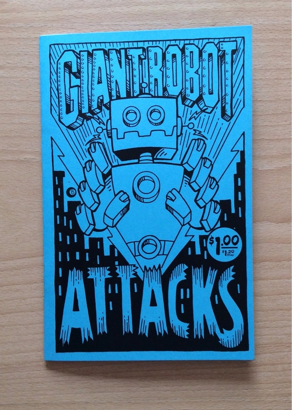 Giant Robot Attacks Mini Comic - Blue