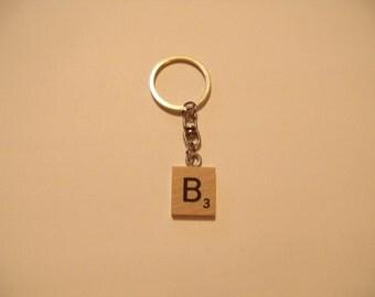 B Scrabble Tile Keychain