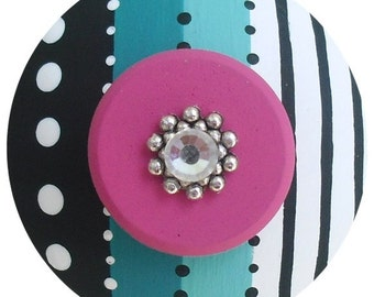 Black White Turquoise Hot Pink Stripes Polka Dots  Jeweled Hand Painted Wood Drawer Knobs