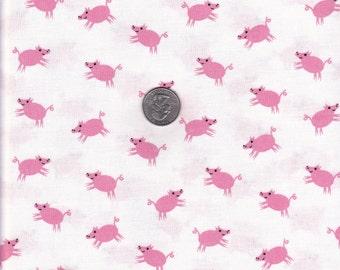 Fat quarter - White Pigs - E-I-E-I-O by Jack and Lulu for Dear Stella cotton quilt fabric