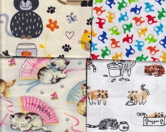 4 Half Yards  -Kitty Combo - cotton quilt fabric bundle