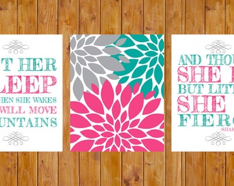 Let Her Sleep Flower Burst She is Fierce Set of 3 Nursery Decor Wall Art Hot Pink Jade Grey 8x10 Digital JPG Files  Instant Download (93j)